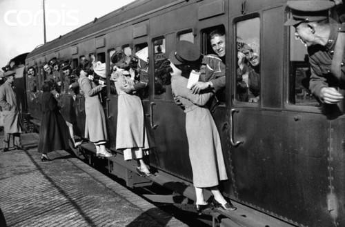 Soldiers Kiss Women Goodbye