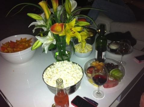 wine, popcorn, fruit, what more can you wish for?