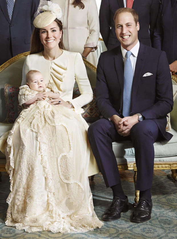 "The official portrait for the christening of Prince George of Cambridge, photographed in The Morning Room at Clarence House in London on October 23, 2013. (back row, L-R) The Duke of Edinburgh, Britain's Prince Charles, Camilla, The Duchess of Cornwall, Prince Harry of Wales, Pippa Middleton, James Middleton, Carole Middleton and Michael Middleton. (front row, L-R) Britain's Queen Elizabeth II, Catherine, Duchess of Cambridge carrying Prince George and William, Duke of Cambridge. AFP PHOTO/CAMERA PRESS LIMITED/JASON BELL  = RESTRICTED TO EDITORIAL USE - MANDATORY CREDIT ""AFP PHOTO / CAMERA PRESS LIMITED / JASON BELL"" - NO MARKETING NO ADVERTISING CAMPAIGNS - DISTRIBUTED AS A SERVICE TO CLIENTS - RESTRICTED TO SUBSCRIPTION USE - NO ARCHIVE - NO ARCHIVE BY CLIENTS - NO SALE - MANDATORY USED WITHIN 24 HOURS ONLY FROM 21:00GMT OF OCTOBER 24, 2013 - NO CROP - NO ALTERATIONS =JASON BELL/AFP/Getty Images"